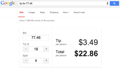 Google calculates tips
