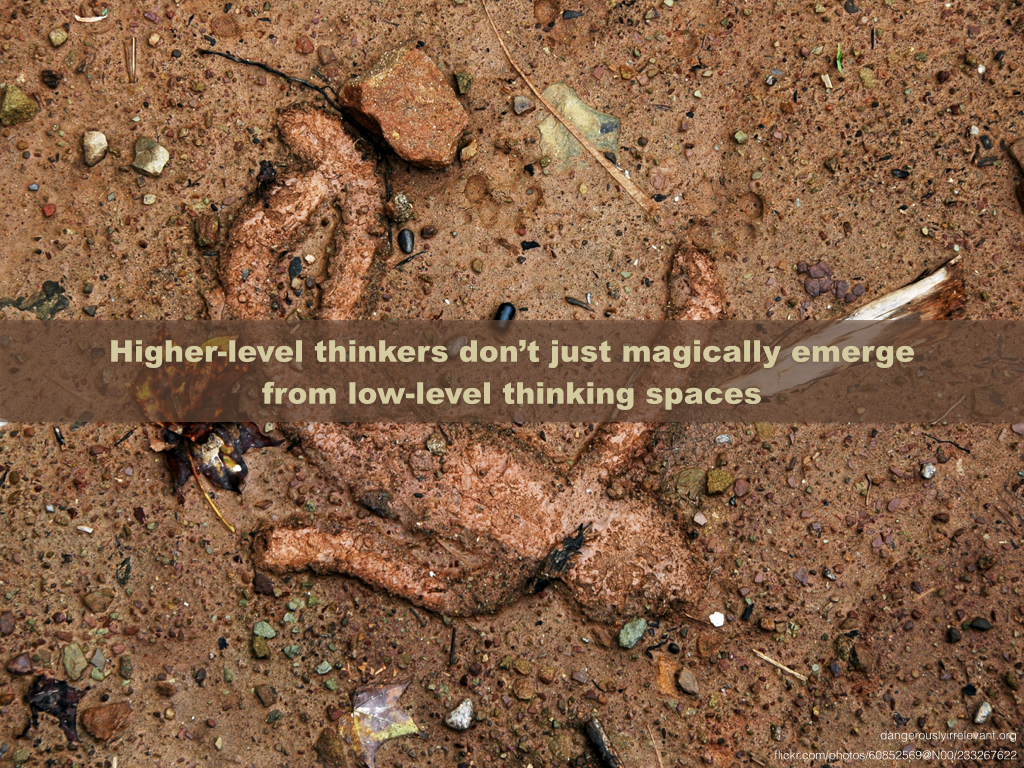 Higher-level thinkers don't just magically emerge from low-level thinking spaces