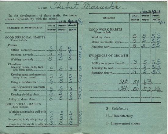 First grade report card, 1951