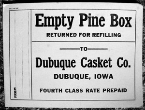 Pine box label