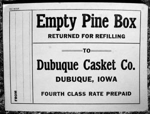 Pine box label