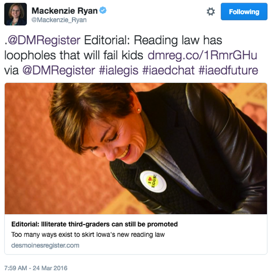 Mackenzie Ryan retention 'loophole' tweet