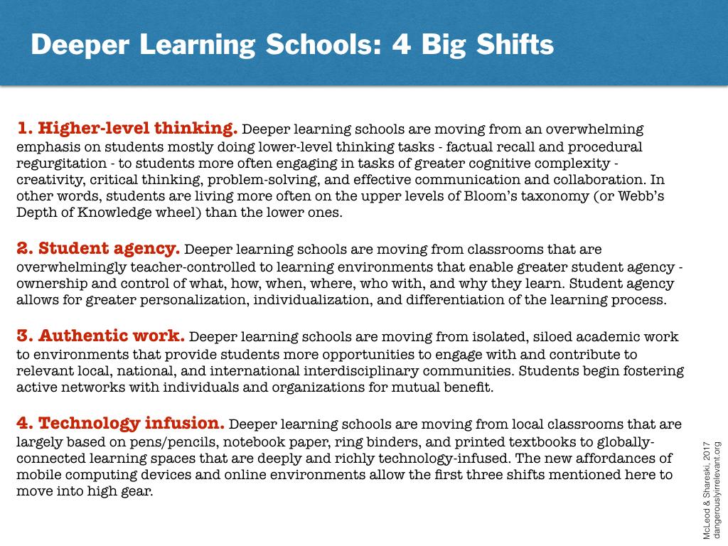 Deeper Learning Schools: 4 Big Shifts