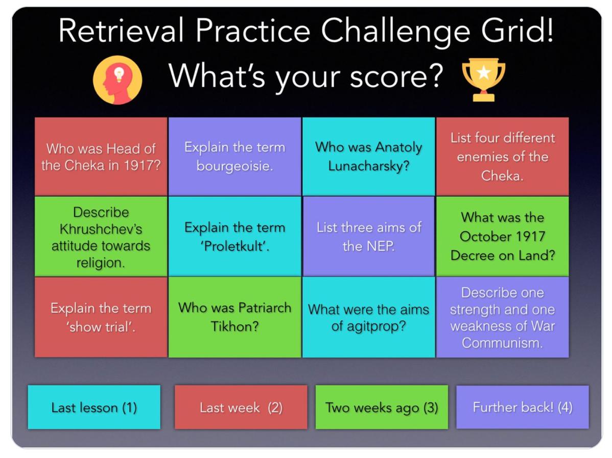 Retrieval Practice Challenge Grid